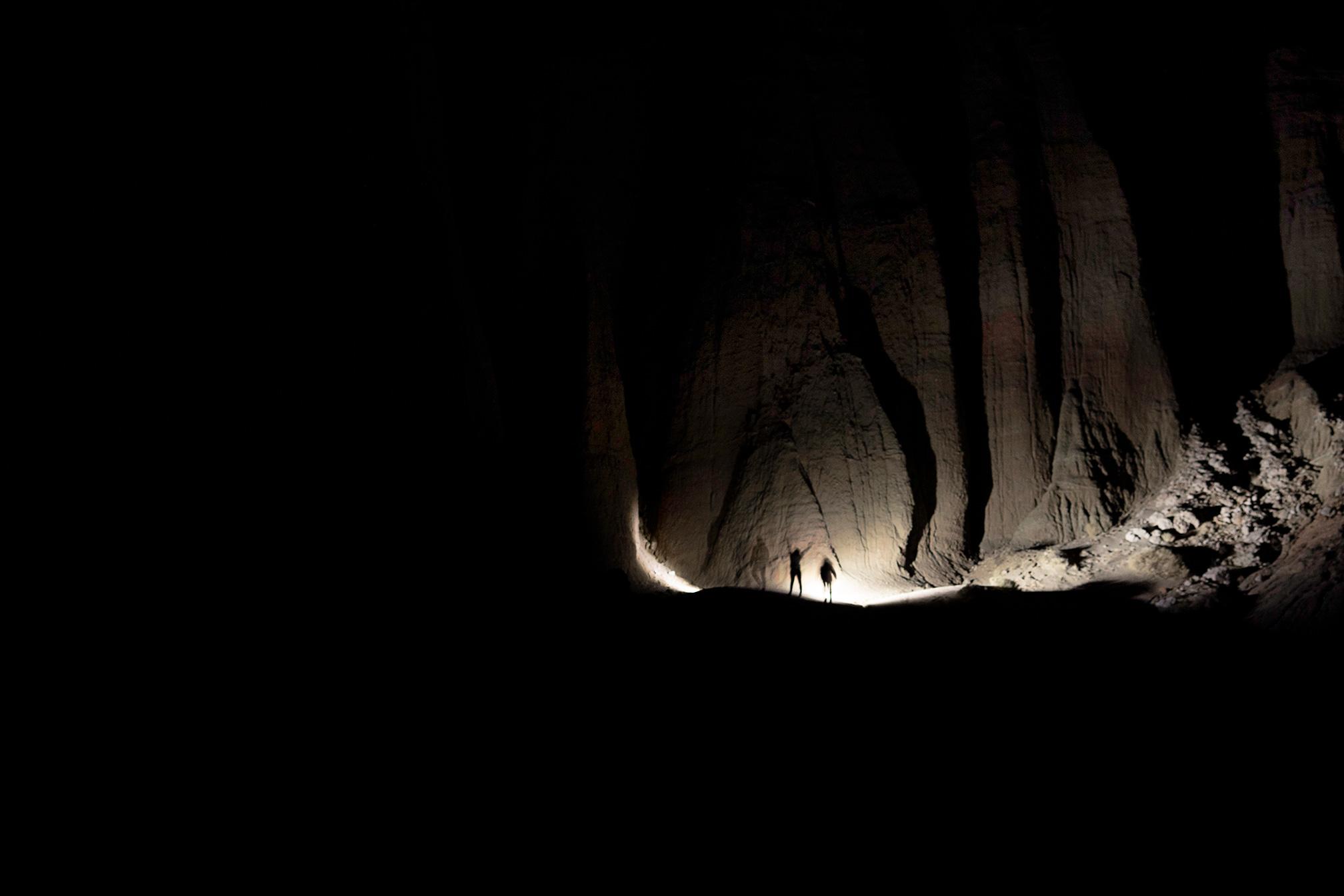 Exploring by flashlight.