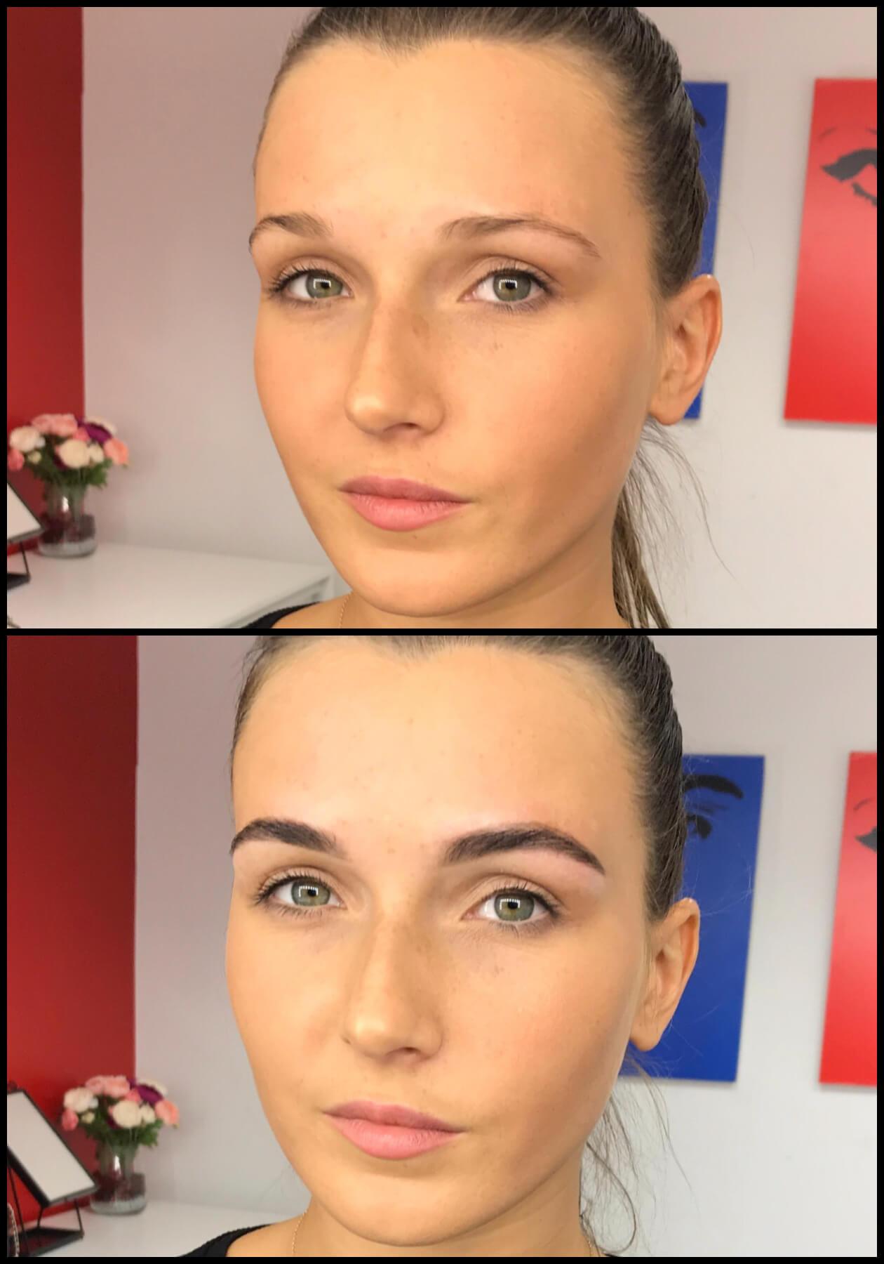 Портрет девушки до и после коррекции бровей и макияжа