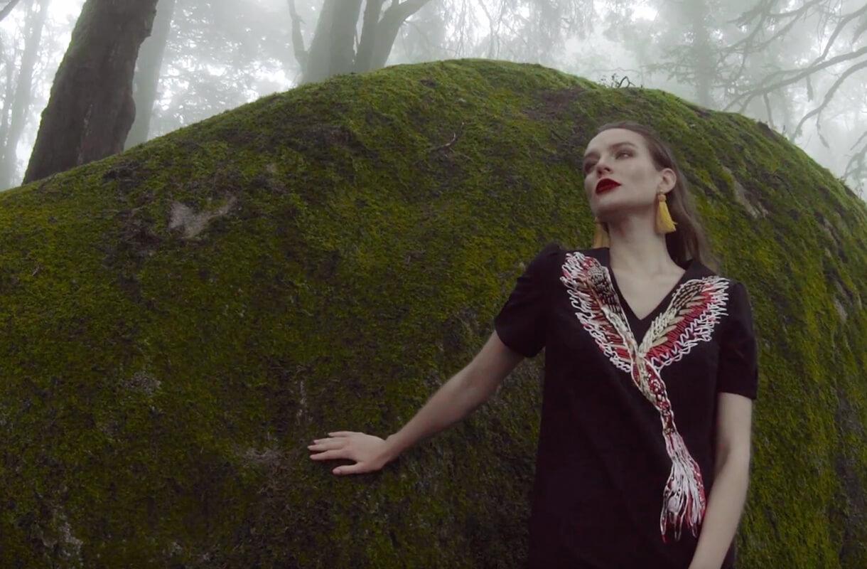 Кадр из видео ZARINA с моделью в лесу около камня