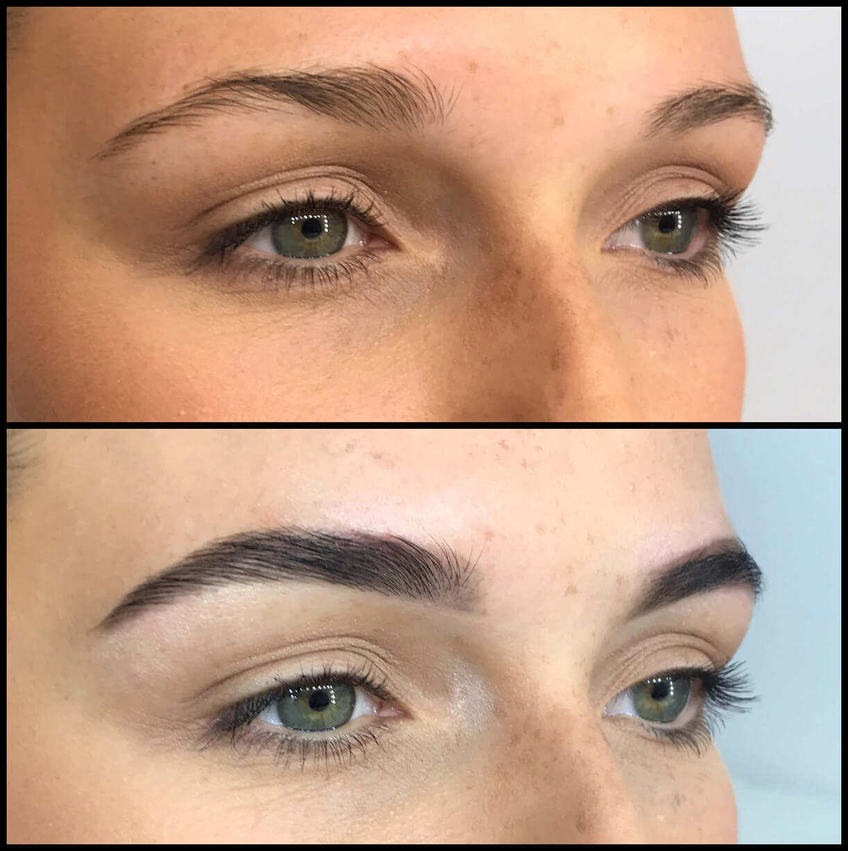 Крупный план глаз девушки до и после коррекции бровей и макияжа