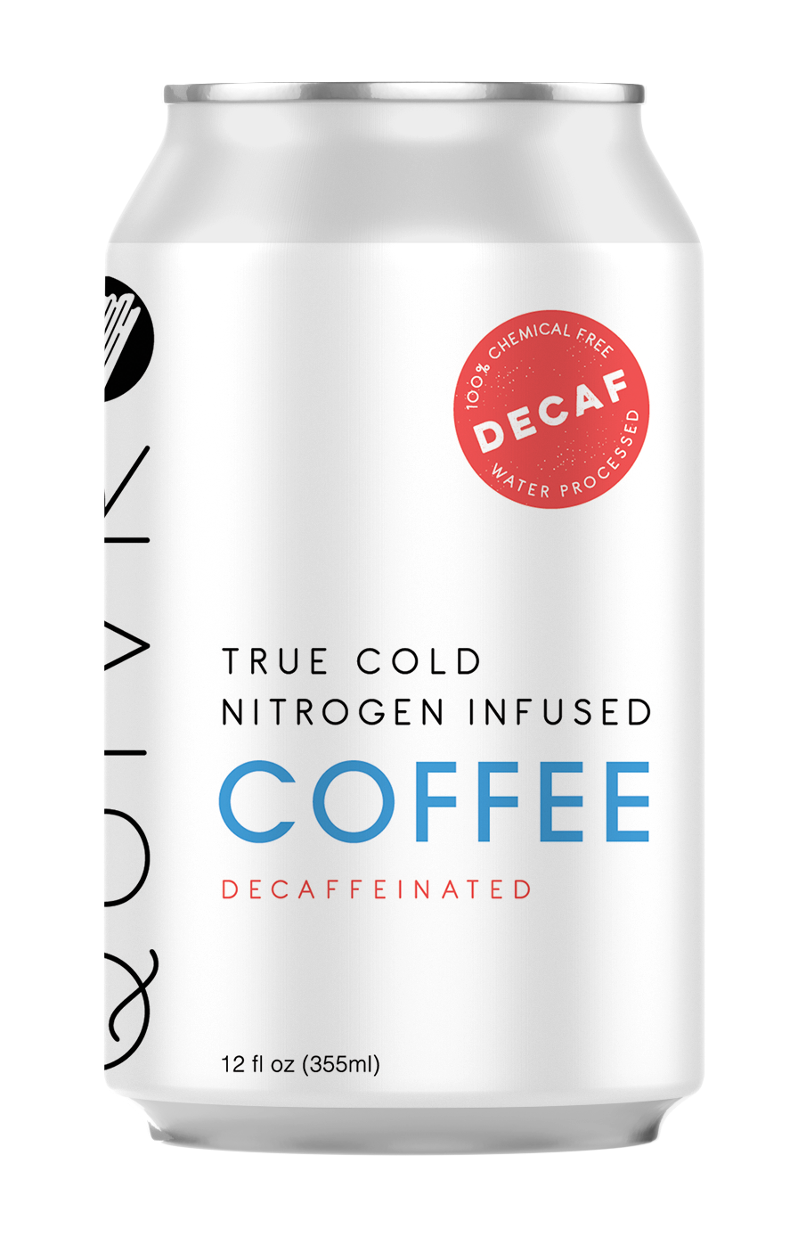 A Quivr Decaf Coffee can showing the flavor name