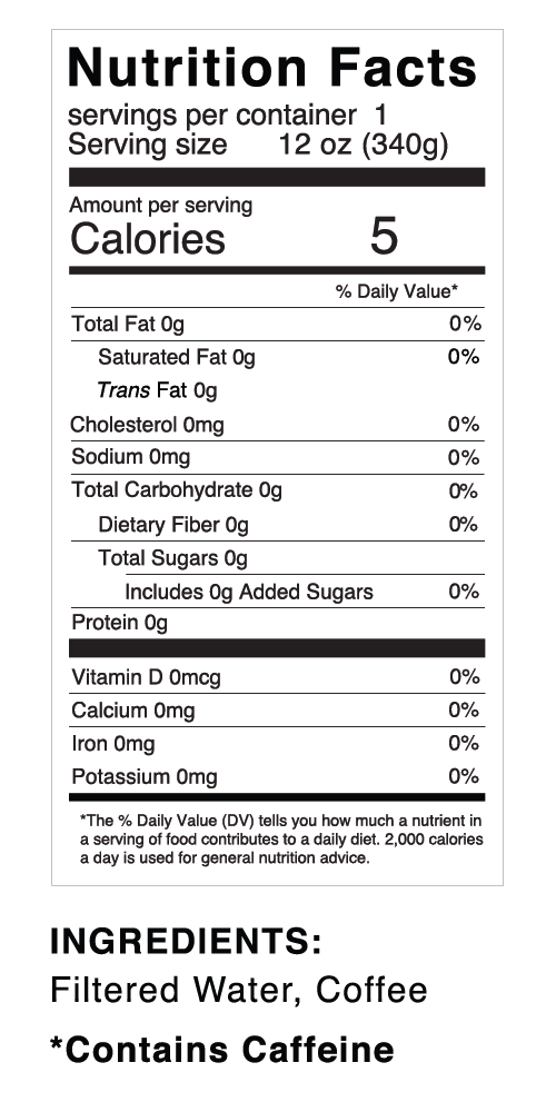 Nutrition facts for Quivr Coffee