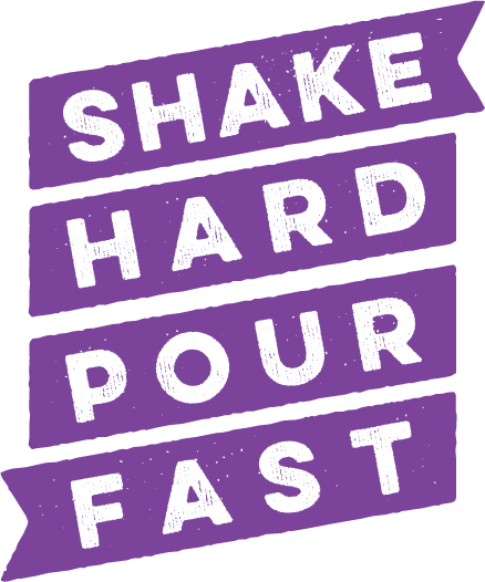 The Shake Hard Pour Fast brand icon in purple
