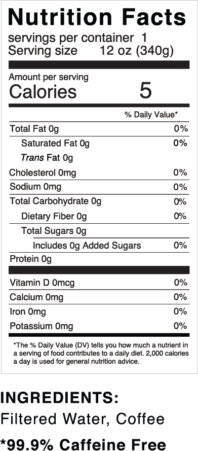 Nutrition facts for Quivr Decaf Coffee