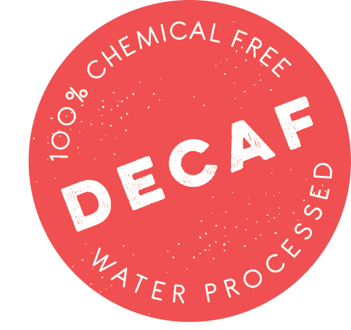 An icon that says 100% chemical free, Decaf, water processed