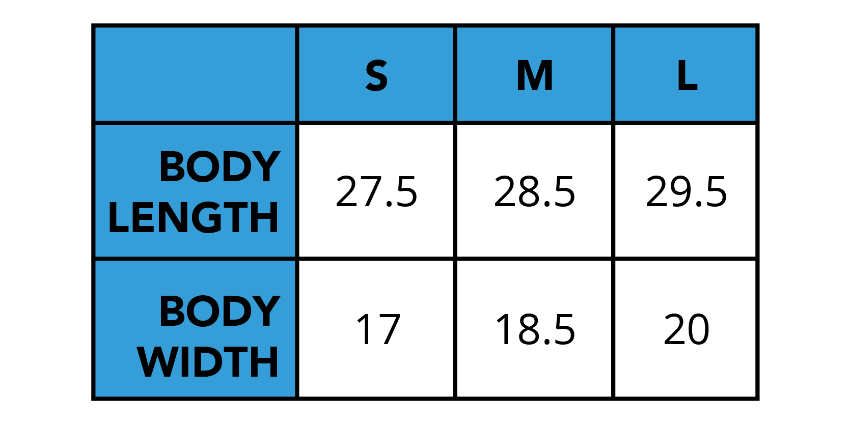 A sizing chart outlining the correct sizes for tank purchases.