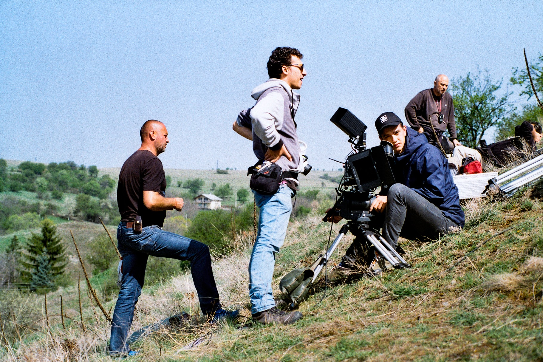 Camera crew behind the scenes during the shooting of a short film  - Gift.