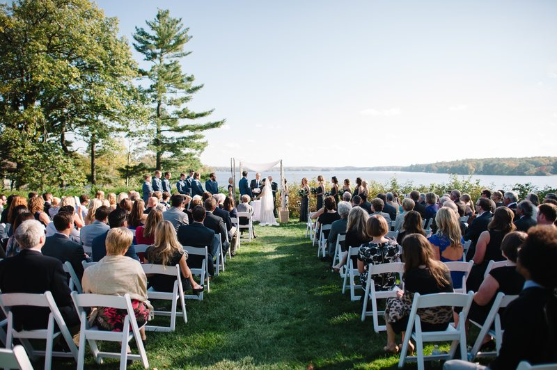 Outdoor wedding ceremony at Stout's Island Lodge