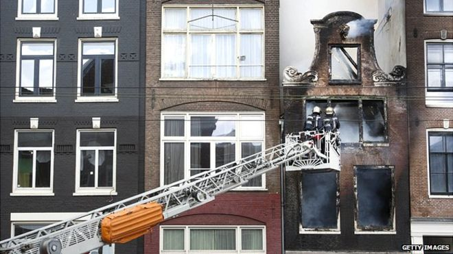 BBC picture of Dutch Firefighters in Amsterdam