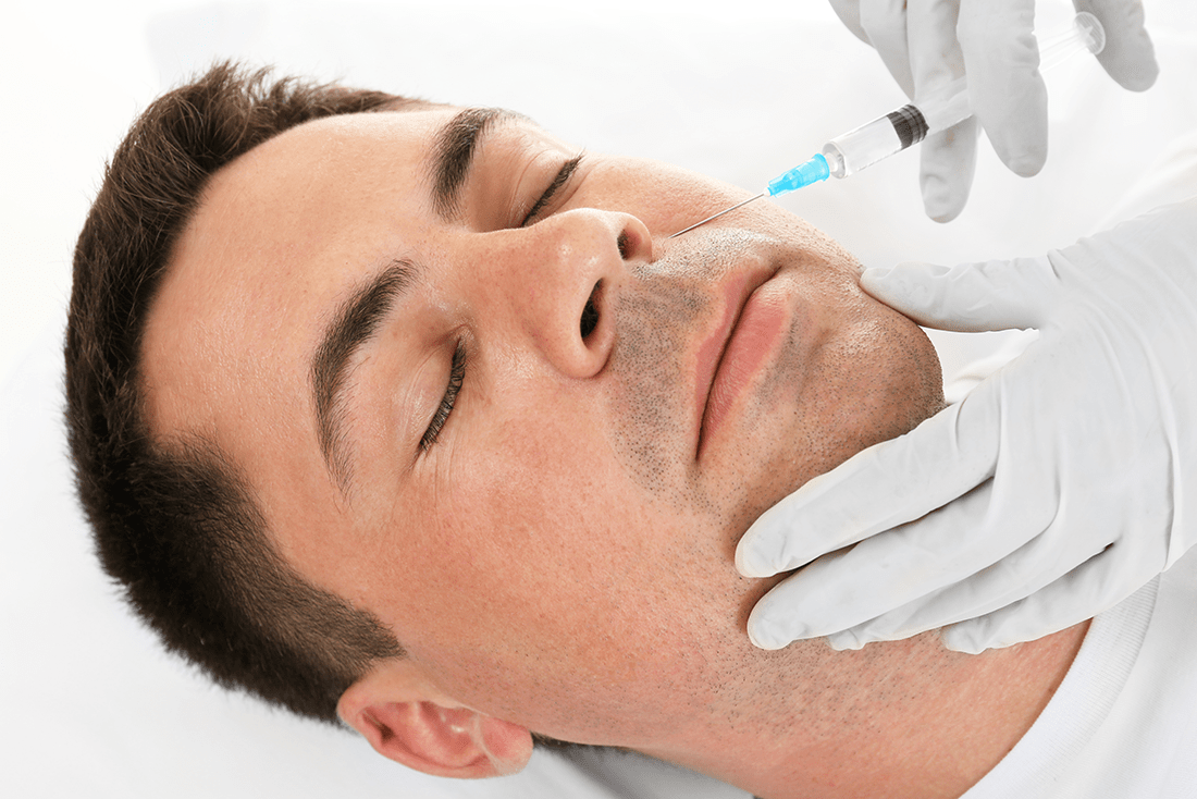 man getting BROtox - Male Botox® and Facial Fillers