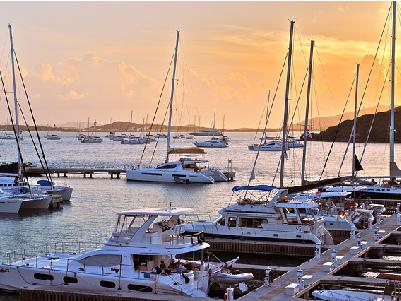 Several sailboats docked