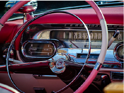 Steering wheel of a classic car
