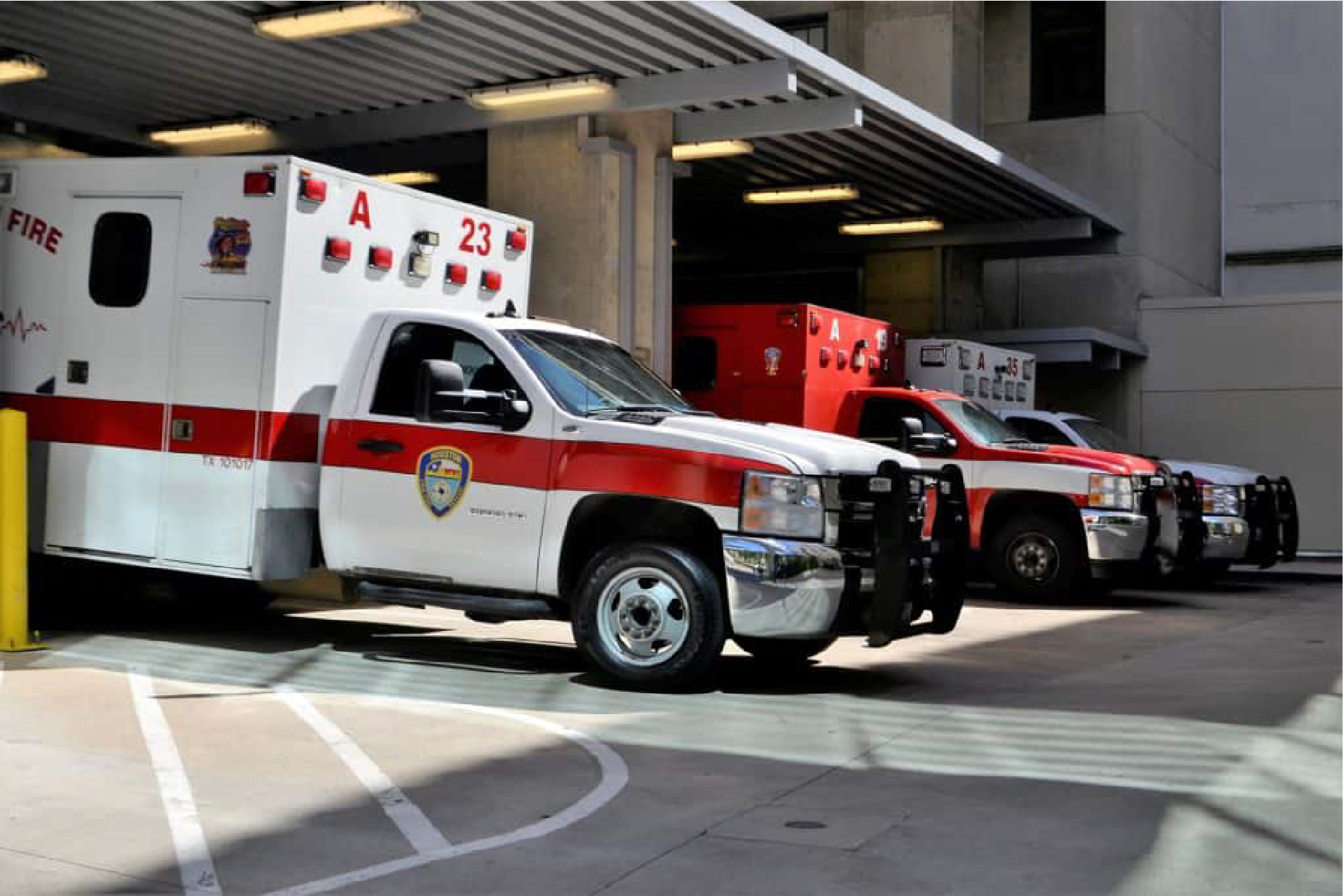 Ambulances in ambulance bay at hospital