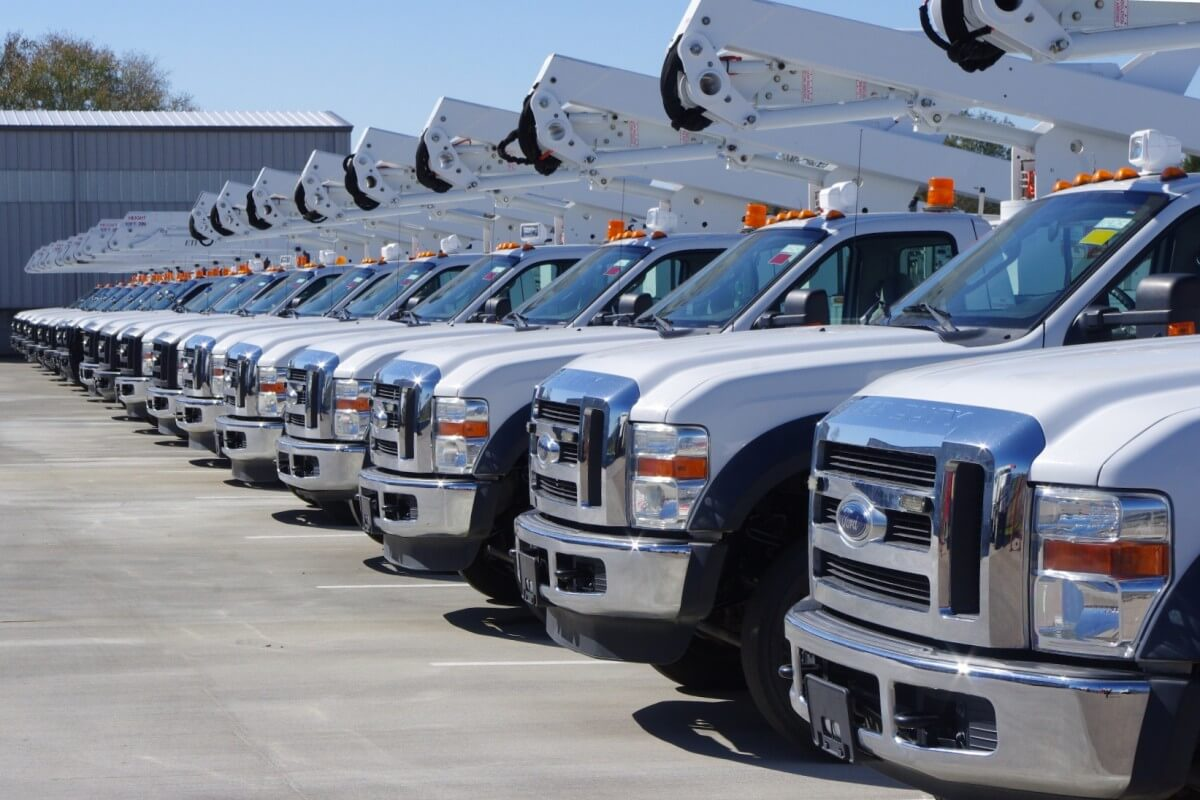 Fleet of parked commercial trucks