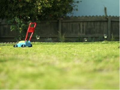 Man mowing his yard