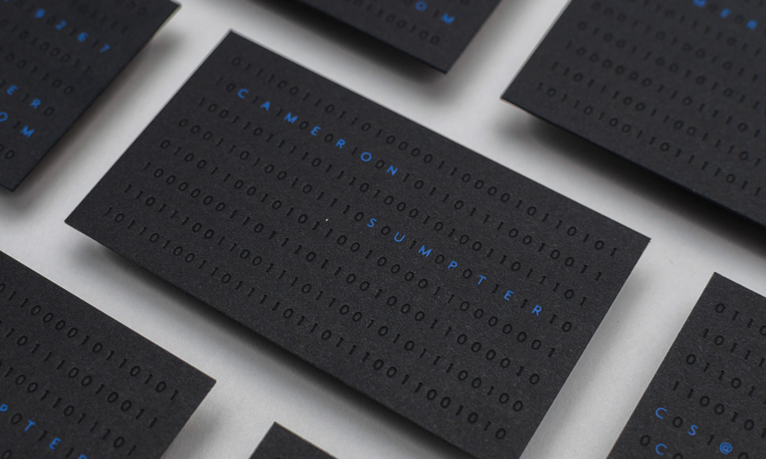 minimalist business card foiled stamped in blue and black