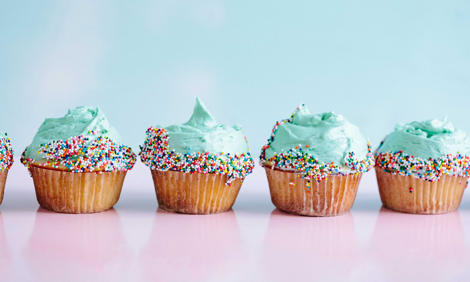 Colorful Cupcakes Decorates with Sprinkles