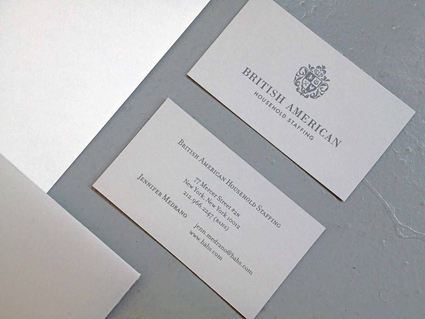 brittish american foiled stamped on neenah grey paper