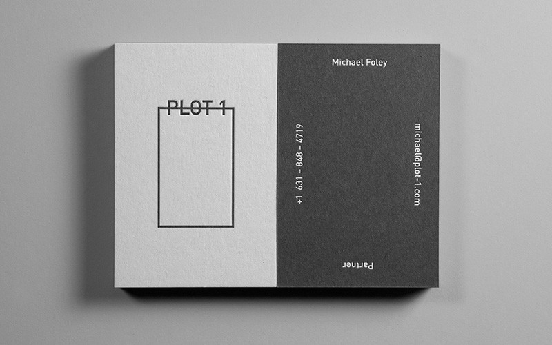 plot 1 black and white embossed business cards