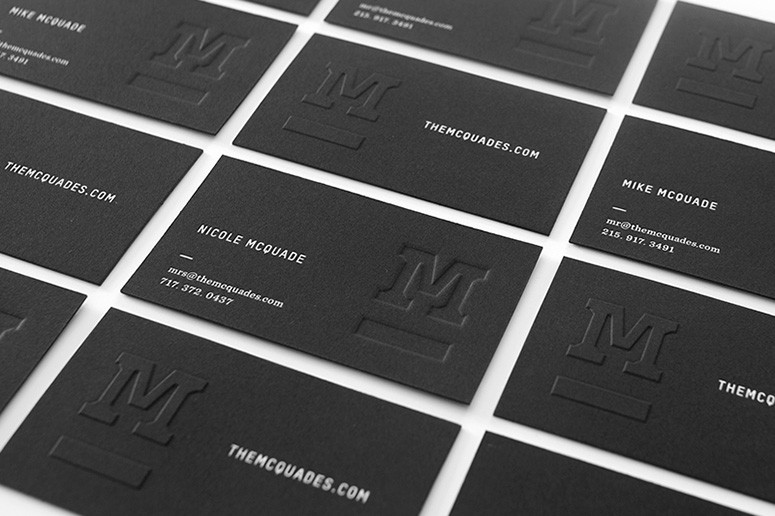 mcquades black business cards debossed and embossed