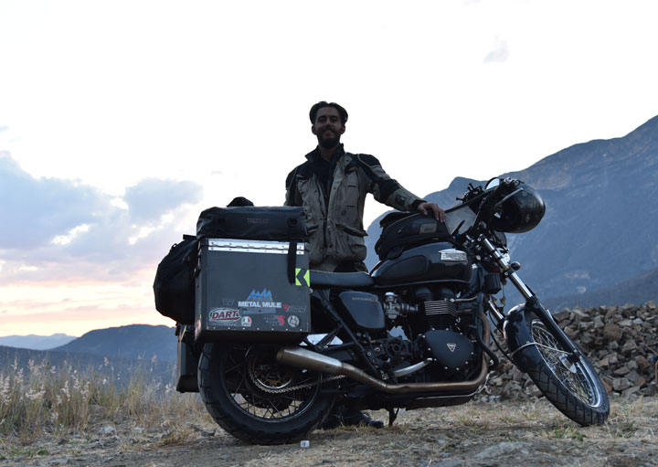 Kand and his Bonneville in India