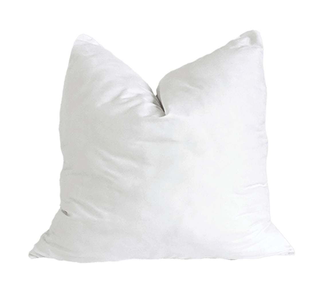 Faux down pillow insert available for Boldbeat throw pillows. Insert is displayed with a chop in the center.