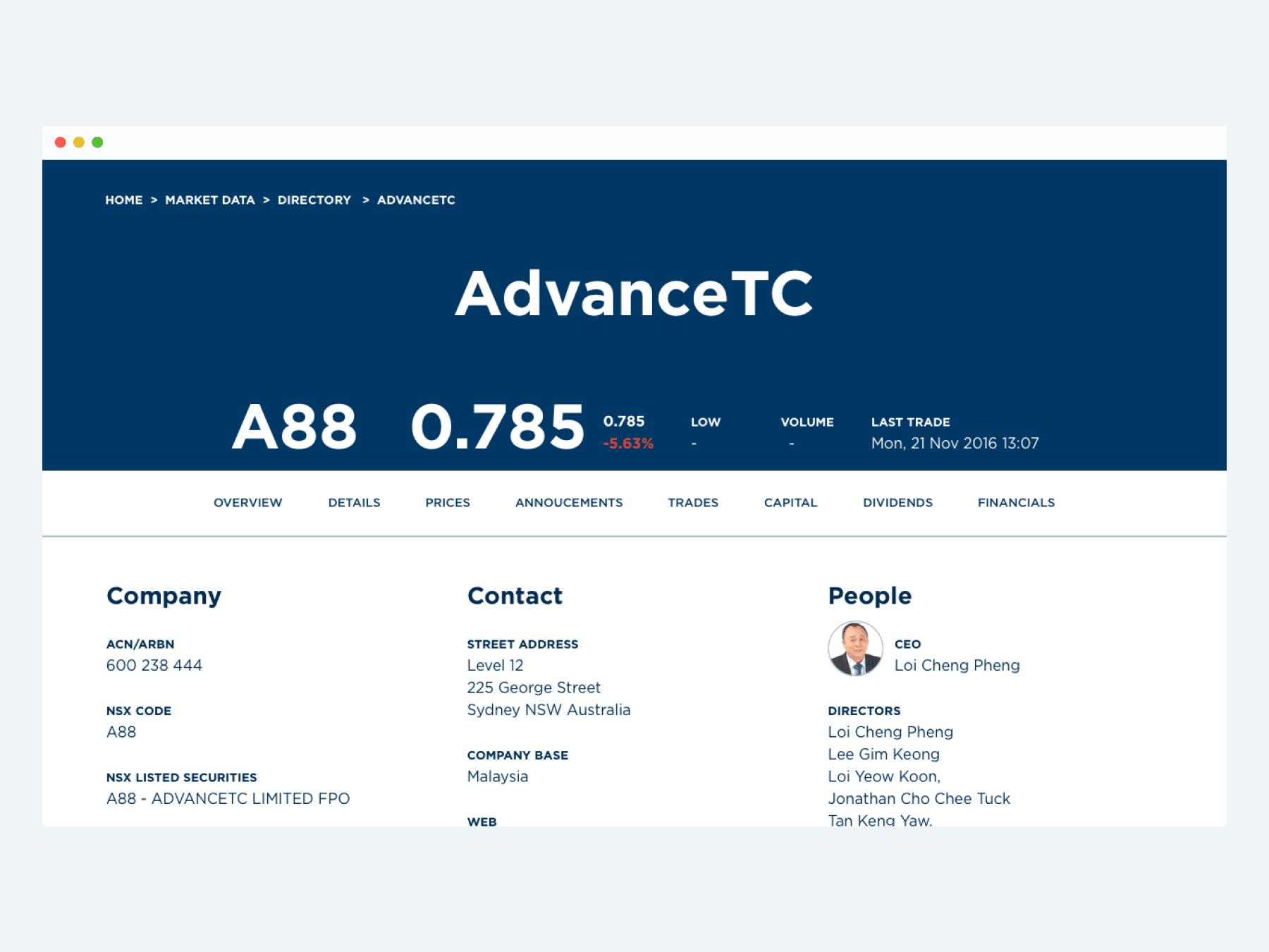 NSX – company profile page