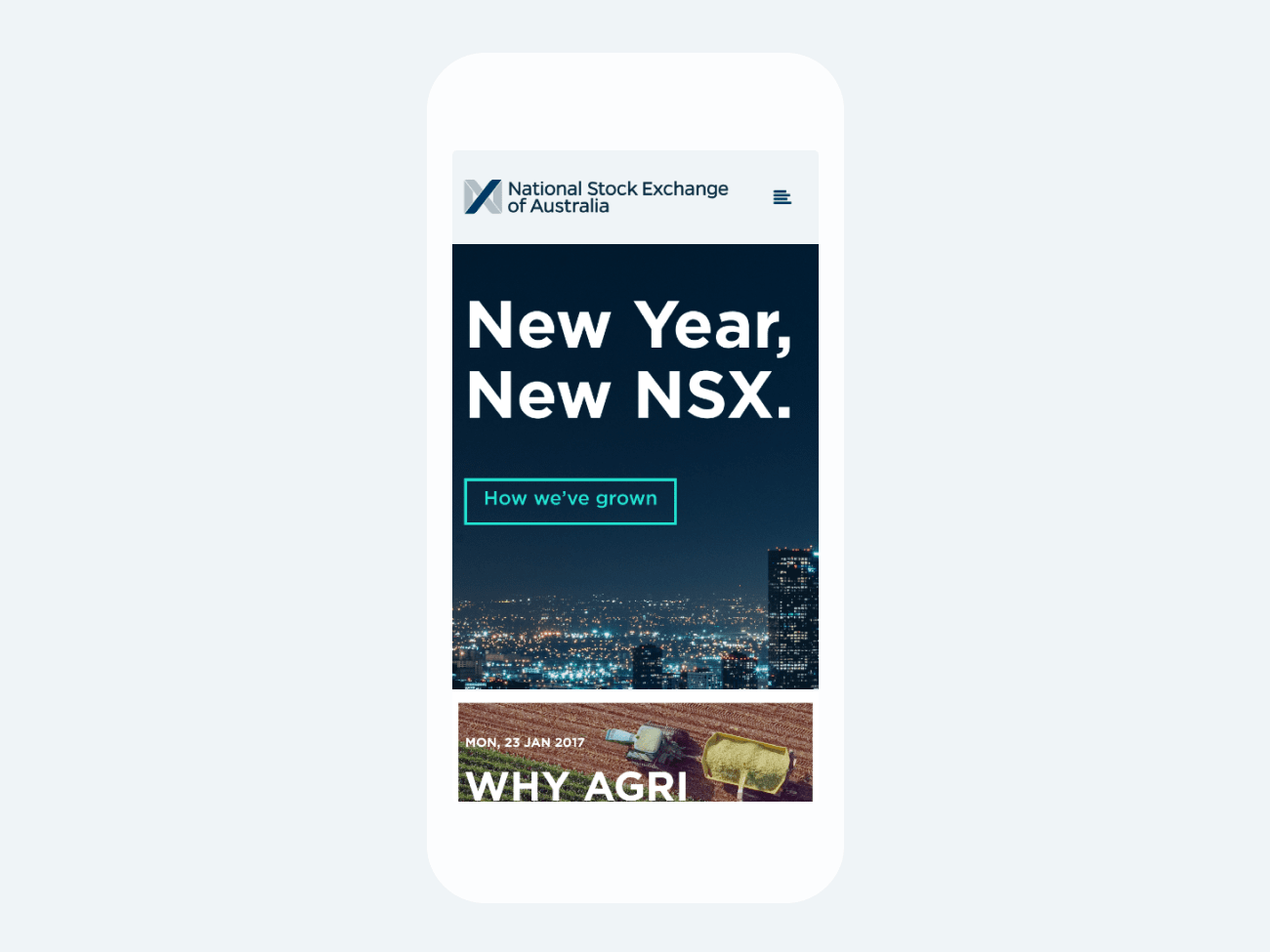 NSX – mobile homepage