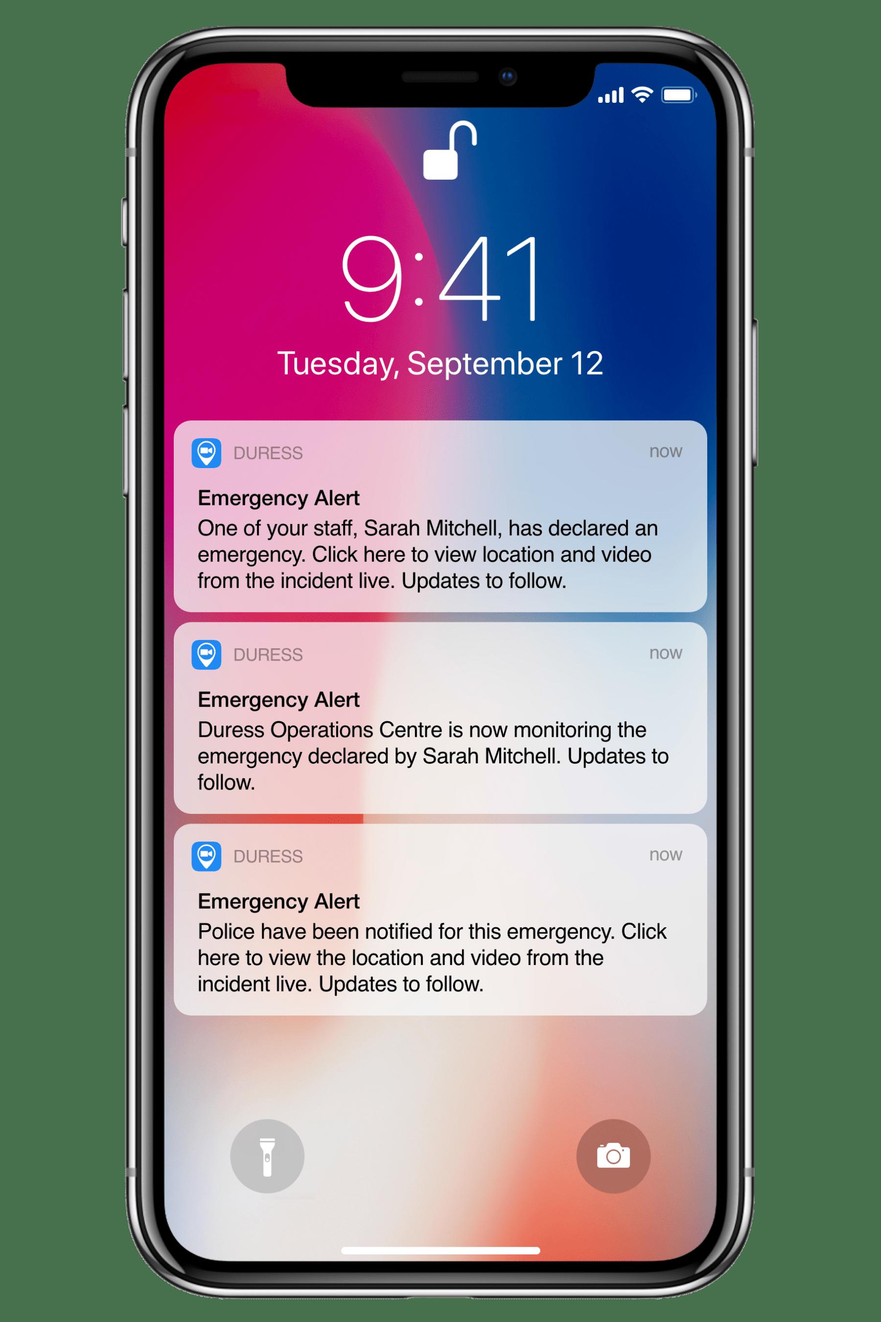 Duress SMS Updates
