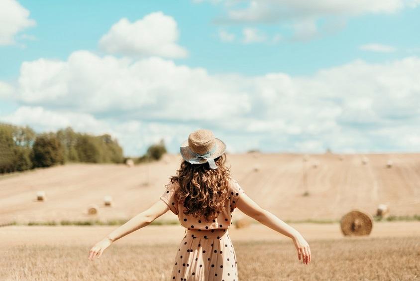 Woman in field.