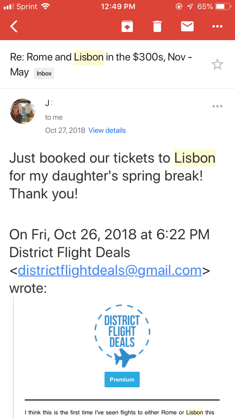 Testimonial of subscriber traveling to Lisbon