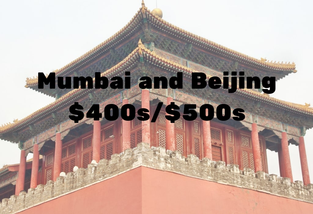 Image of deal to Mumbai or Beijing in the $400s and $500s