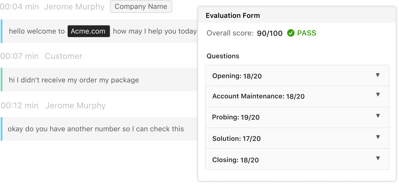 image of transcript and call evaluation