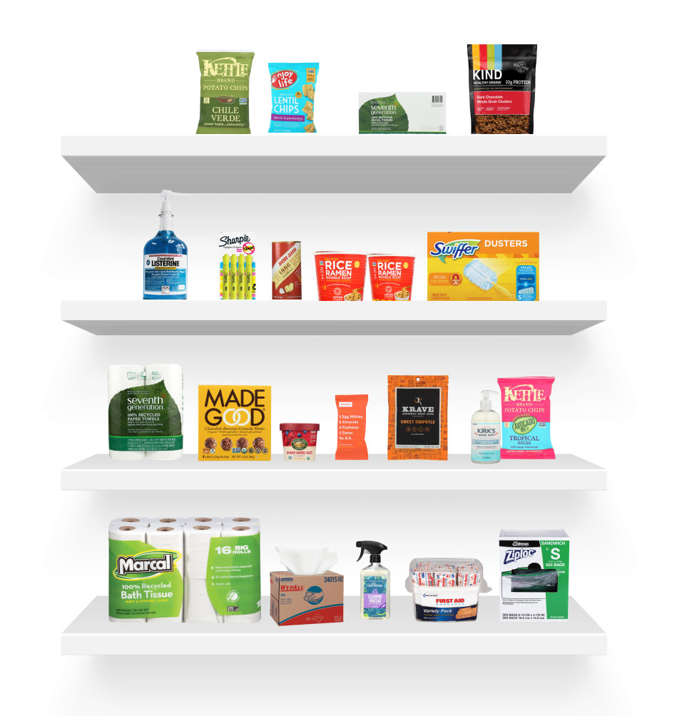 A shelf with supplies and non-perishables