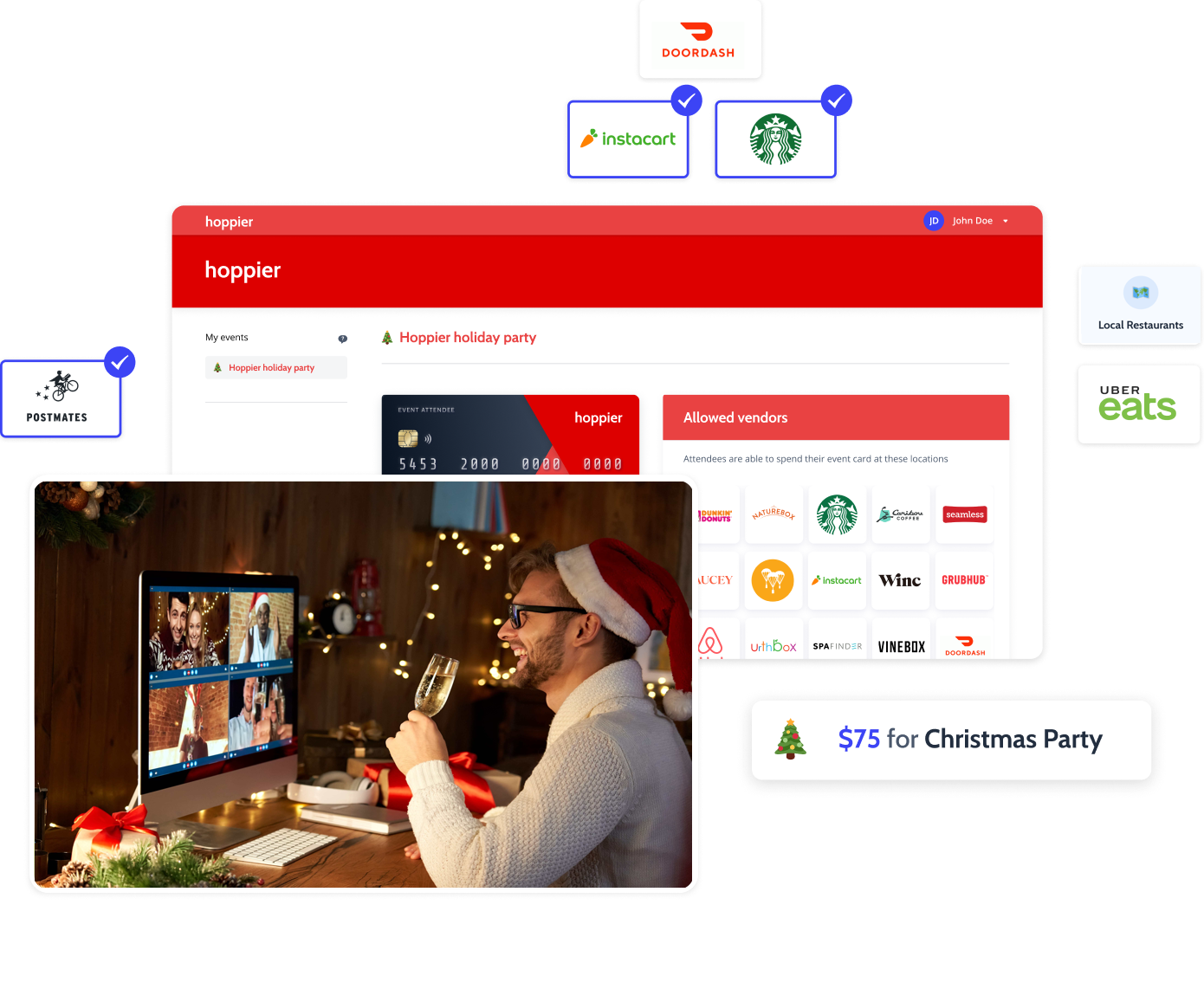 virtual christmas party with food and drinks great virtual teambuilding