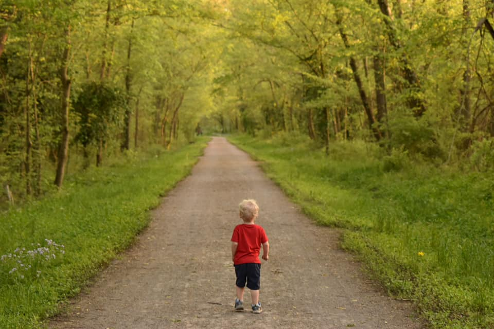Boy on walkway