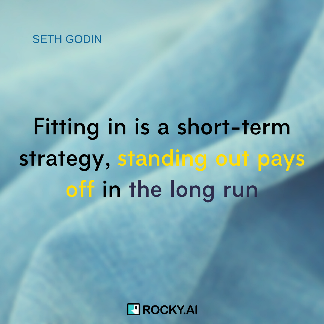 Fitting in is being a follower. Standing out is being a leader, #SethGodin