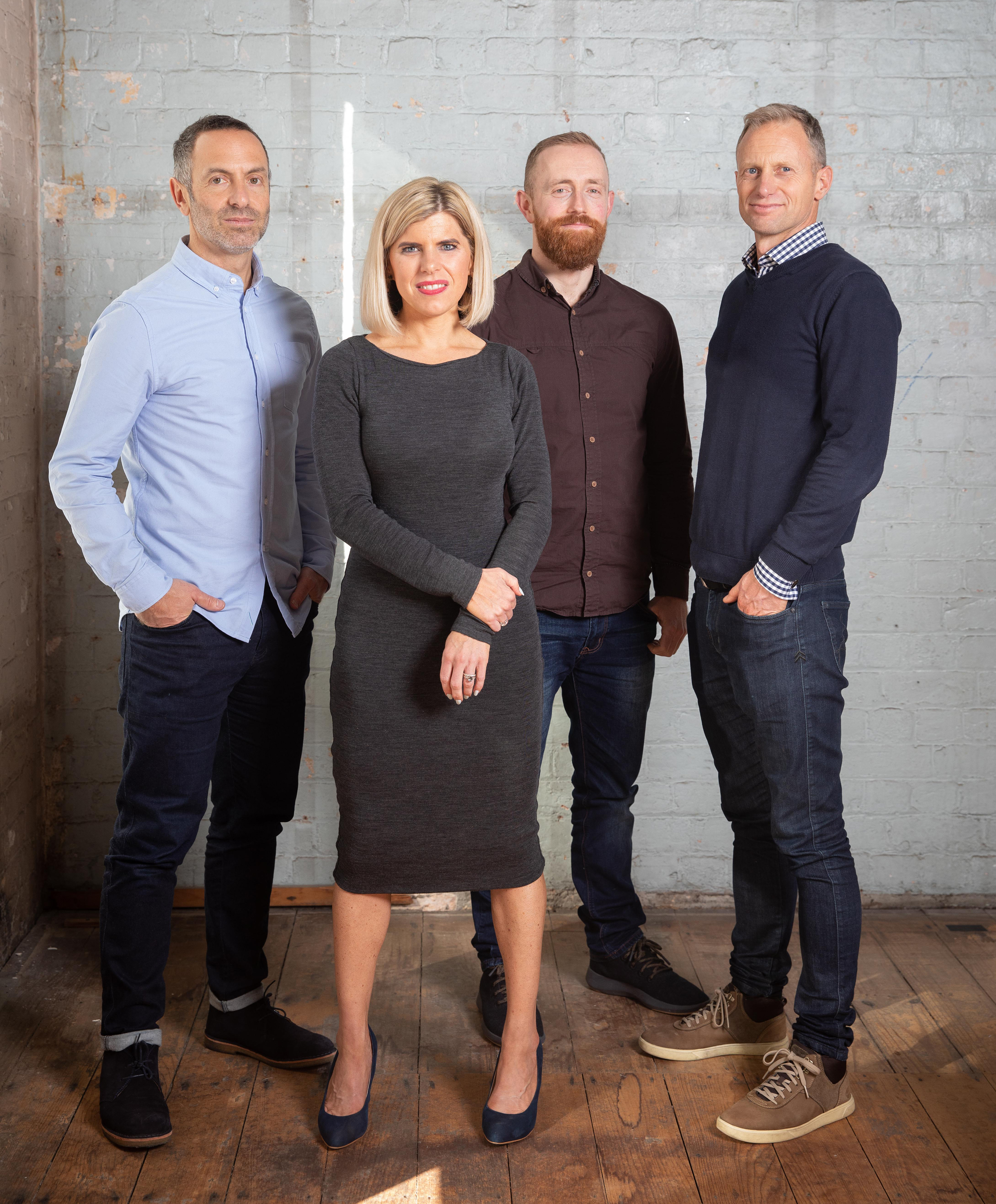 Pictured from Left to right: Steve Alexander (Managing Director), Kimberley Edgell (Practice Lead), Jon Martin (Head of Design), Blake Lough (Director of Experience)