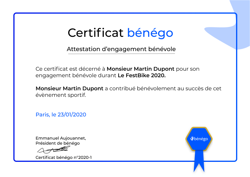 Certificat bénégo
