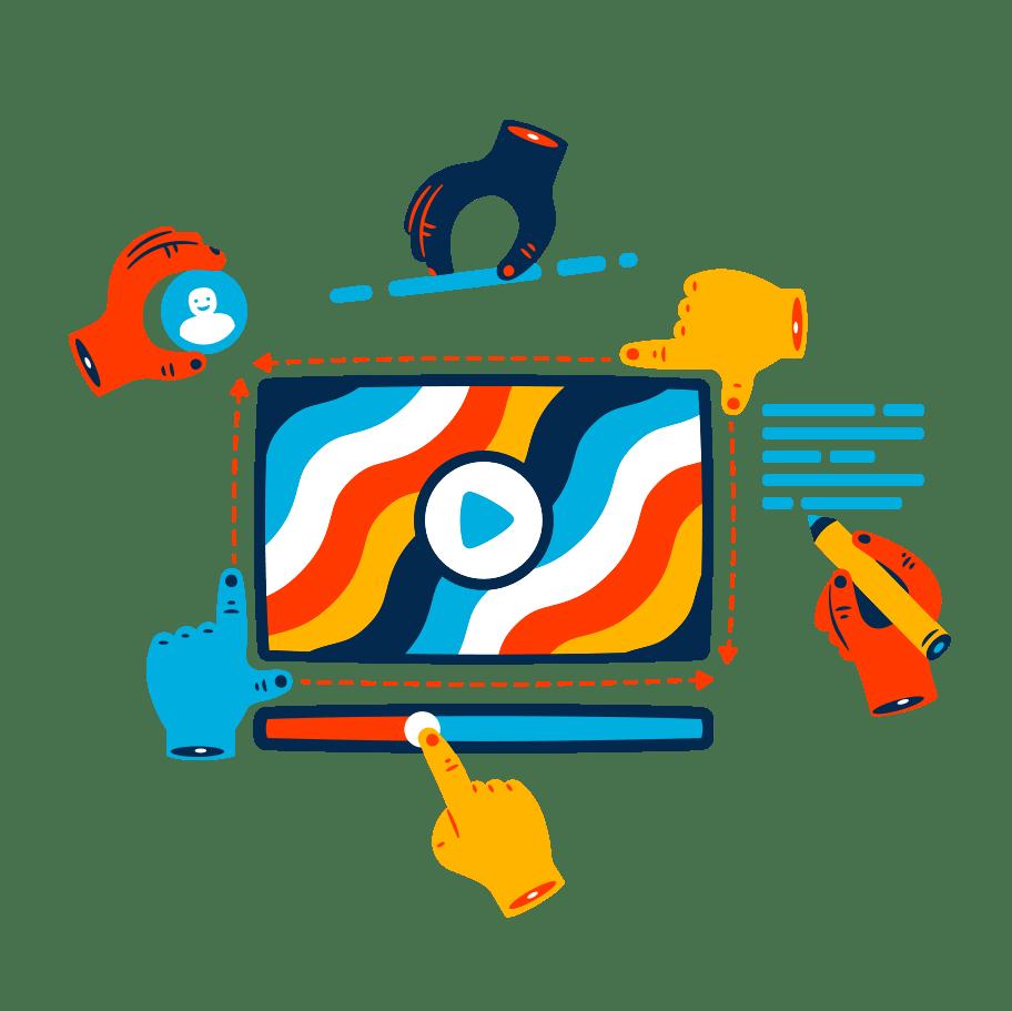 ícone de diversas mãos desenvolvendo um projeto