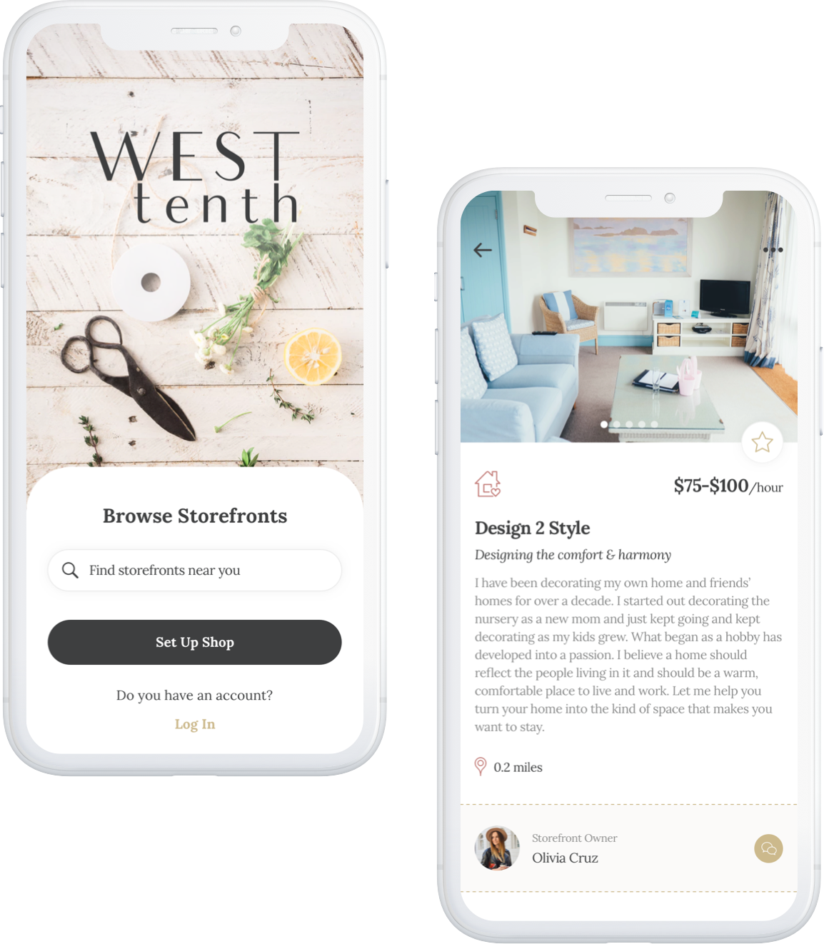 West Tenth App mockups: Browse Storefronts, Set Up Shop, Request a Service
