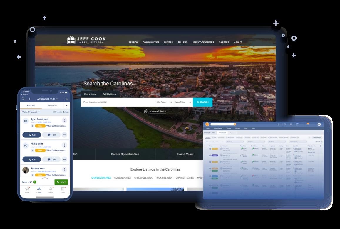 Screen shots of Sierra CRM, Sierra website and Sierra mobile App.