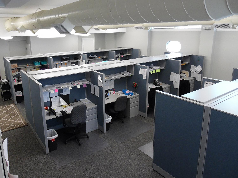 Interior of Passanante's telemarketing office in Bristol, PA