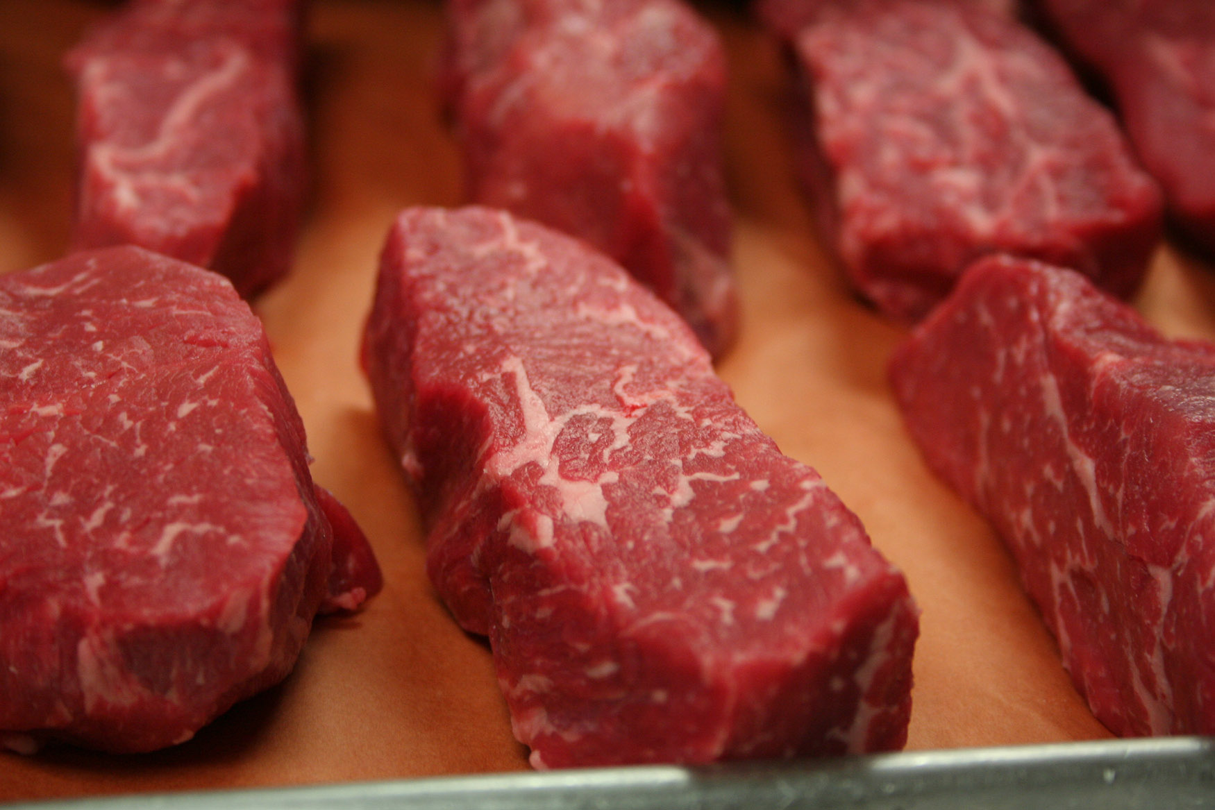 Fresh beef filets ready for packaging