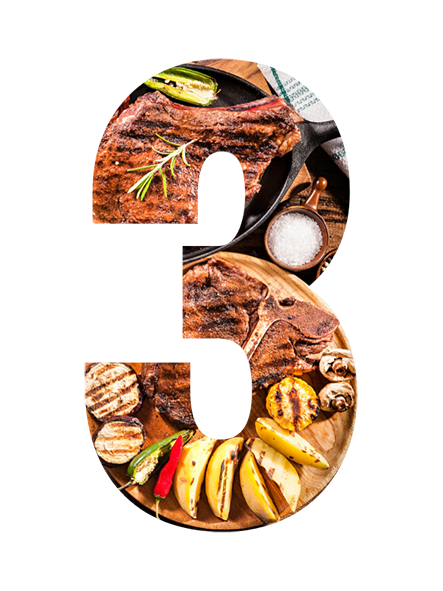 Number 3 made of food