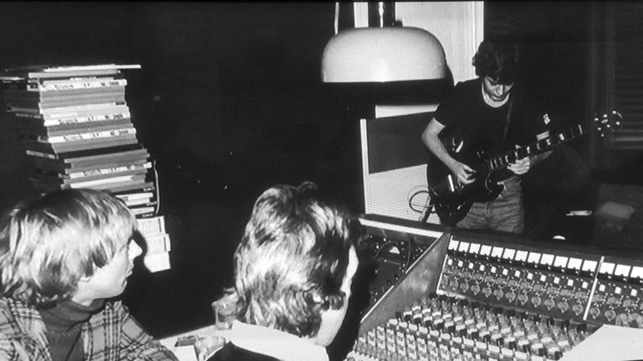 Angus Young with his SG at the Neve desk