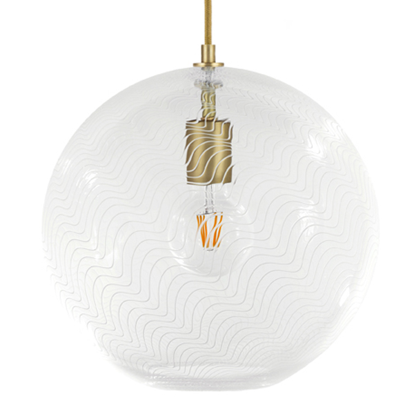 KEEP Cane Globe Pendant Light Pearl Drift Pattern