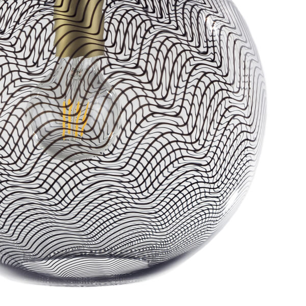 KEEP Cane Globe Pendant Light Charcoal Drift Pattern