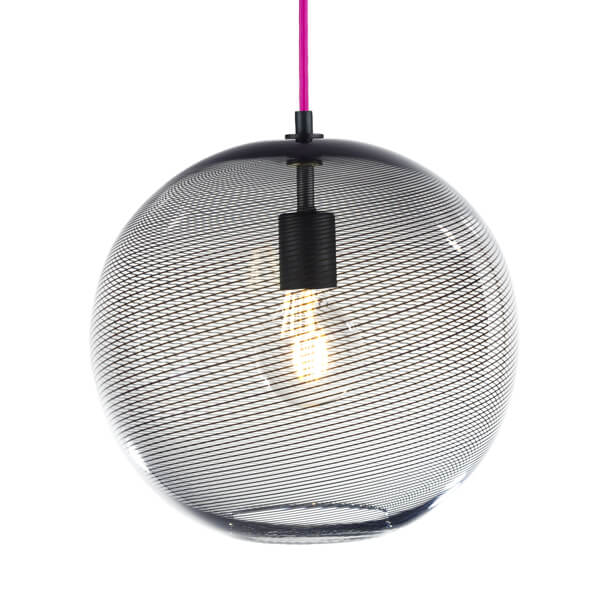 KEEP Cane Globe Pendant Light Charcoal Track Pattern
