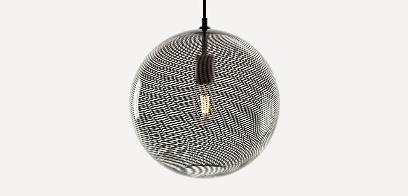 KEEP - CANE Globe Charcoal Glass Pendant Light
